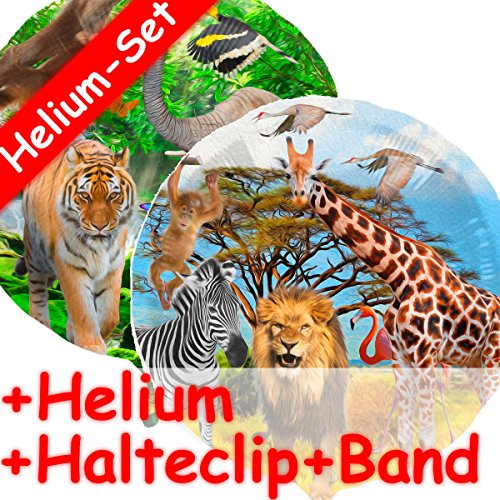 Folieballon, Safari, helium vulling, klem, band, voor kinderverjaardag, folies ballon, party, helium, decoratie, ballongas, wilde dieren Afrika