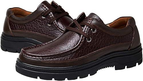 LUCKYEUD Chaussures d'affaires pour Hommes Chaussure à Lacets Tout Confort Doublée De Cuir pour Le Travail Professionnel,marron-B-EU40