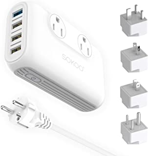 Sokoo Power Converter 220V to 110V, International Voltage Converter for Hair Straightener/Curling Iron, Step Down Universal Travel Adapter Europe UK/AU/US/in, 2Outlet, 4Port USB Charger QC3.0 White