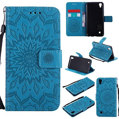 Hülle für LG X Power / K220 Hülle Handyhülle [Standfunktion] [Kartenfach] [Magnetverschluss] Schutzhülle lederhülle flip case für LG X Power - DEKT031839 Blau