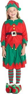 Girls Christmas Elf Costume Toyshop Santas Little Helper Kids Festive Outfit
