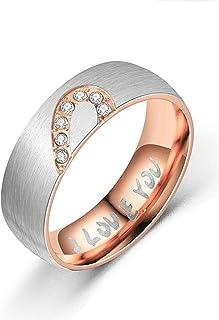 Netmetoo خواتم زوجين القلب المطابقة لها أنا أحبك وعد خاتم التيتانيوم الصلب للأزواج زفاف الخطوبة خواتم عرض 6 مم