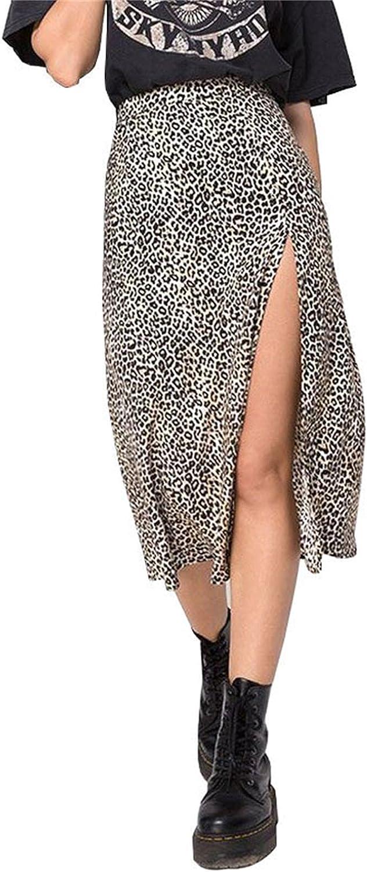 Blansdi Women Floral/Leopard Printed High Slit Casual Skirt Flowy Cute Street Midi Skirt