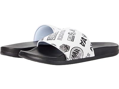 adidas Adilette Comfort Slides (White/Black/Black) Athletic Shoes
