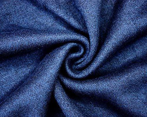 Melange Knit Jersey de invierno con diseños de color azul marino, vestido de jersey de tela elástica suave y lujosa, 156 cm, sudadera con capucha de medio metro