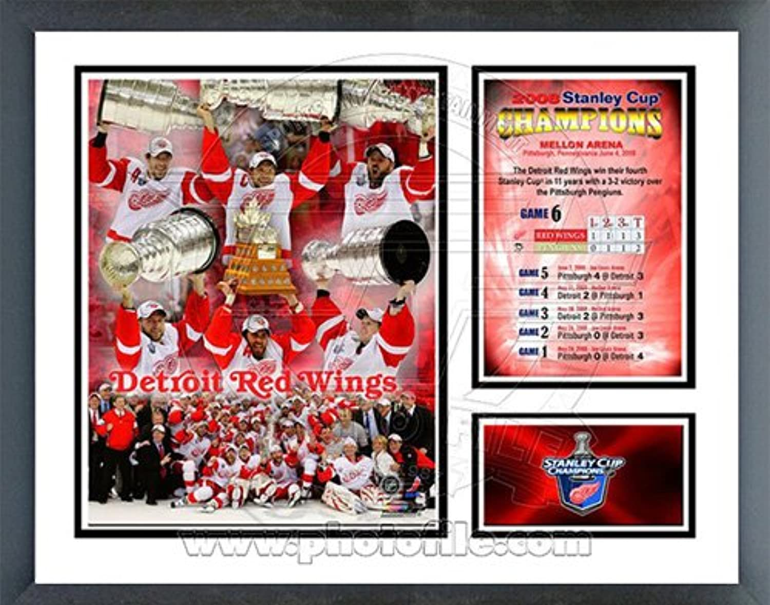 Detroit Red Wings 200708 Stanley Cup Champions Milestones & Memories Framed Photo