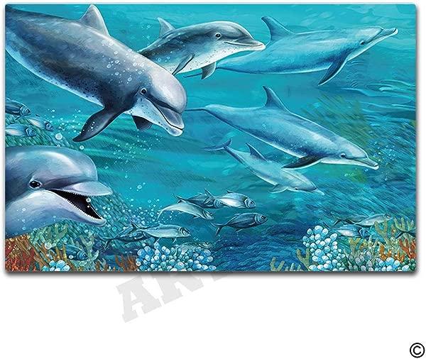 Artswow Door Mat Sea Life Funny Doormat Entrance Floor Mat With Non Slip Rubber Backing Door Mat 23 6 By 15 7 Inch