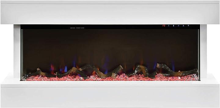 Camino elettrico tesla 1,5kw - illuminazione 10 colori | dimensioni: 110x52x18cm xone 5537-HOME00352