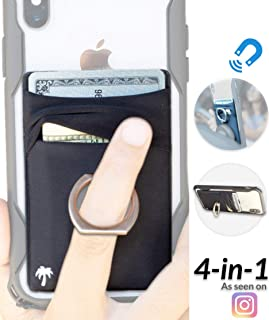 New 4-in-1 Stick-On Spandex Ring Wallet for iPhone 11, XR & Any Phone + Magnetic + Finger Grip + Kickstand – Best Stretchy Card Holder, Sticks to Case (11 Pro Max XR XS X 8 7 6 Plus, Samsung, etc)