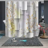 Beddinginn White Flower Summer Shower Curtain Set with 12 Hooks Modern Flower Fabric Bath Curtains Decorative Thick Bathroom Curtain