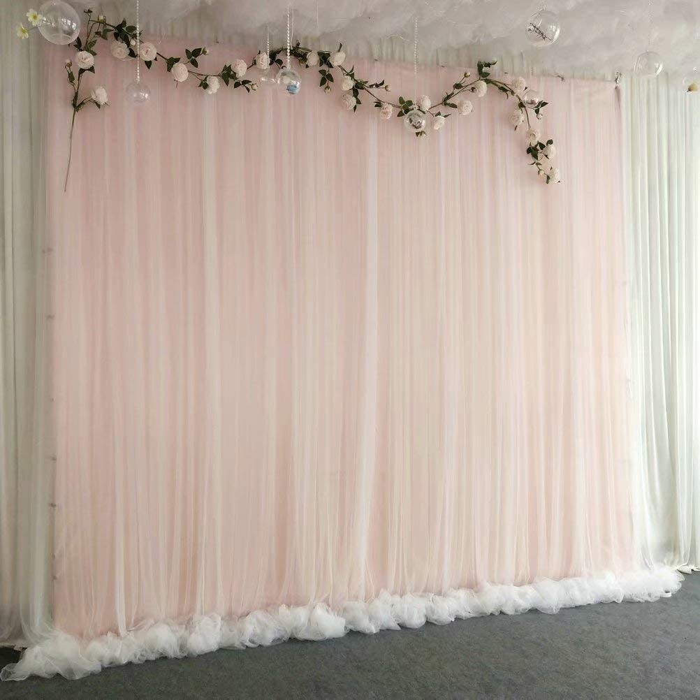 Atongham Cherry Pink Tulle Chiffon Backdrop for Bridal Shower Wedding Ceremony Backdrops Curtains Newborn Baby Shower Backdrop Photo Booth Background Photography