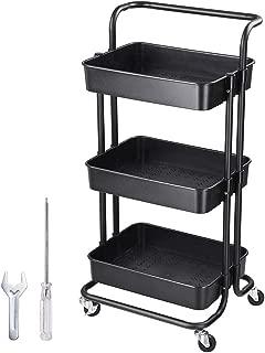 Yescom 3 Tiers Rolling Utility Cart Metal Storage Cart Mobile Organizer Black