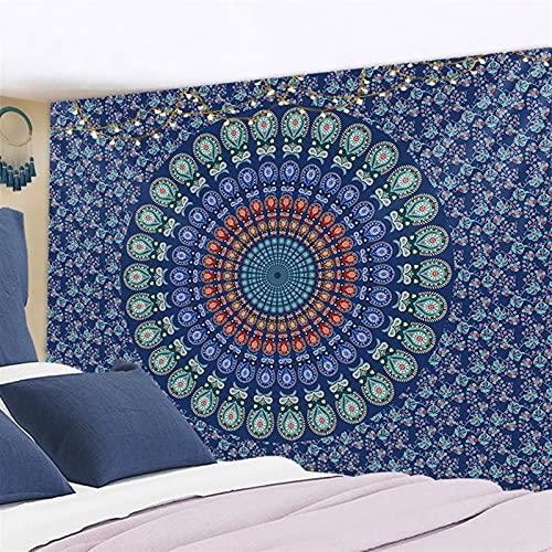 Tapiz para colgar en la pared, de tela psicodélico, hippie, noche, luna, alfombra de pared (color: verde claro, tamaño: 230 x 150 cm)