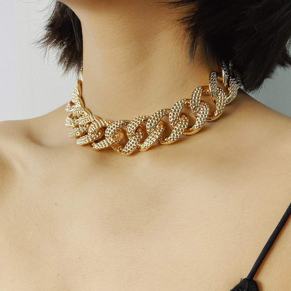 Chargances Iced Out Miami Cuban Link Chain Necklace for Women Gold Chunky Chain Collar Choker Strip Chain