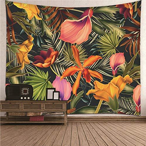 Aimsie Tapiz de pared en 3D, flores y hojas, poliéster, multicolor, 240 x 220 cm