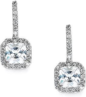Mariell Art Deco Radiant-Cut Cubic Zirconia Bridal Dangle Earrings - Vintage Wedding CZ Drop Earrings