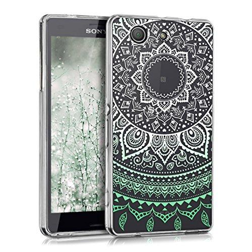 kwmobile Coque Compatible avec Sony Xperia Z3 Compact - Coque Housse protectrice pour téléphone en Silicone Menthe glaciale-Blanc-Transparent