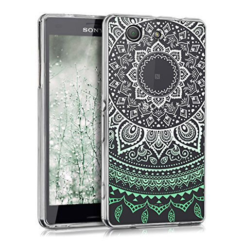 kwmobile Sony Xperia Z3 Compact Hülle - Handyhülle für Sony Xperia Z3 Compact - Handy Case in Indische Sonne Design Mintgrün Weiß Transparent