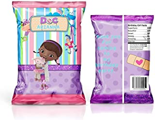 12 Personalized Chip Bags | Doc McStuffins Party | Doc McStuffins Birthday Supplies | Chip Bags for Party | Chip Bag Template | Doc McStuffins Party Favors | Doc McStuffins Birthday Favors
