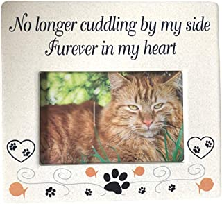 BANBERRY DESIGNS Cat Memorial Ceramic Picture Frame - No Longer Cuddling by My Side Forever in My Heart - Loss of a Pet Gift - Pet Photo Frame - Pet Sympathy Gift - in Memory of a Pet