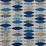 Kt KILOtela Tela por Metros de loneta Estampada - Ancho 280 cm - Largo a elección de 50 en 50 cm | Geométrico, elipses - Azul, marrón