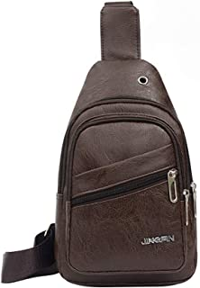 Leather Sling Bags for Men Crossbody Backpack Multifuctional Small Shoulder Pack Sling Chest Bag Daypack Casual Business Backpack for Men Outdoor Cycling Hiking Travel