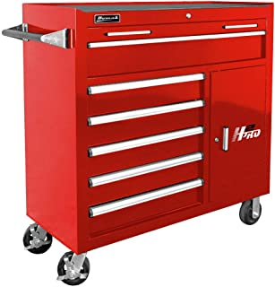 Homak H2PRO Series 41-Inch 6-Drawer with 2-Drawer Compartment Roller, Red, RD04041062