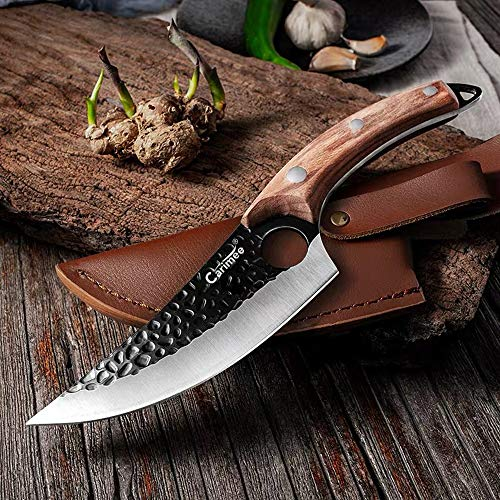 Carimee Forged Butcher Boning knives 6'' Meat Cleaver knife Fishing Filet & Bait Knife with sheath Full Tang 7Cr17MoV Steel Chef Cultery-Survival Knife Outdoor Camping Knife for, BBQ, Kitchen