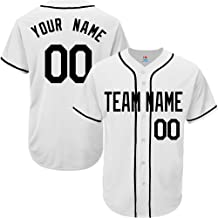 SOOONG White Custom Baseball Jersey for Men Women Youth Full Button Embroidered Team Player Name & Numbers S-5XL