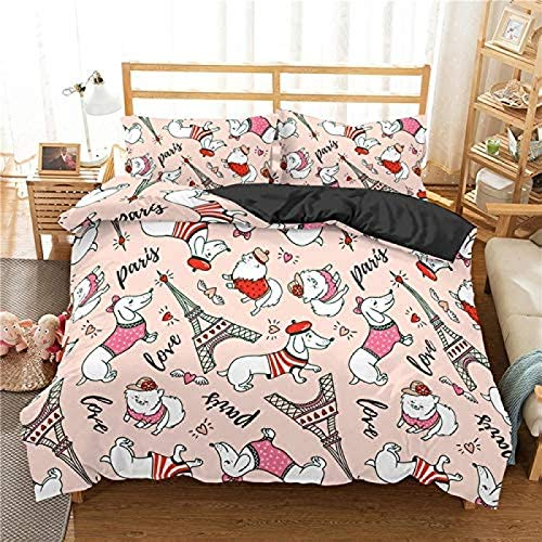 wjy Bedding Cotton Dachshund Bedding Set Duvet Cover Animal Comforter Soft Twin Single Full Queen King Bedclothes,1-AUQueen210x210cm