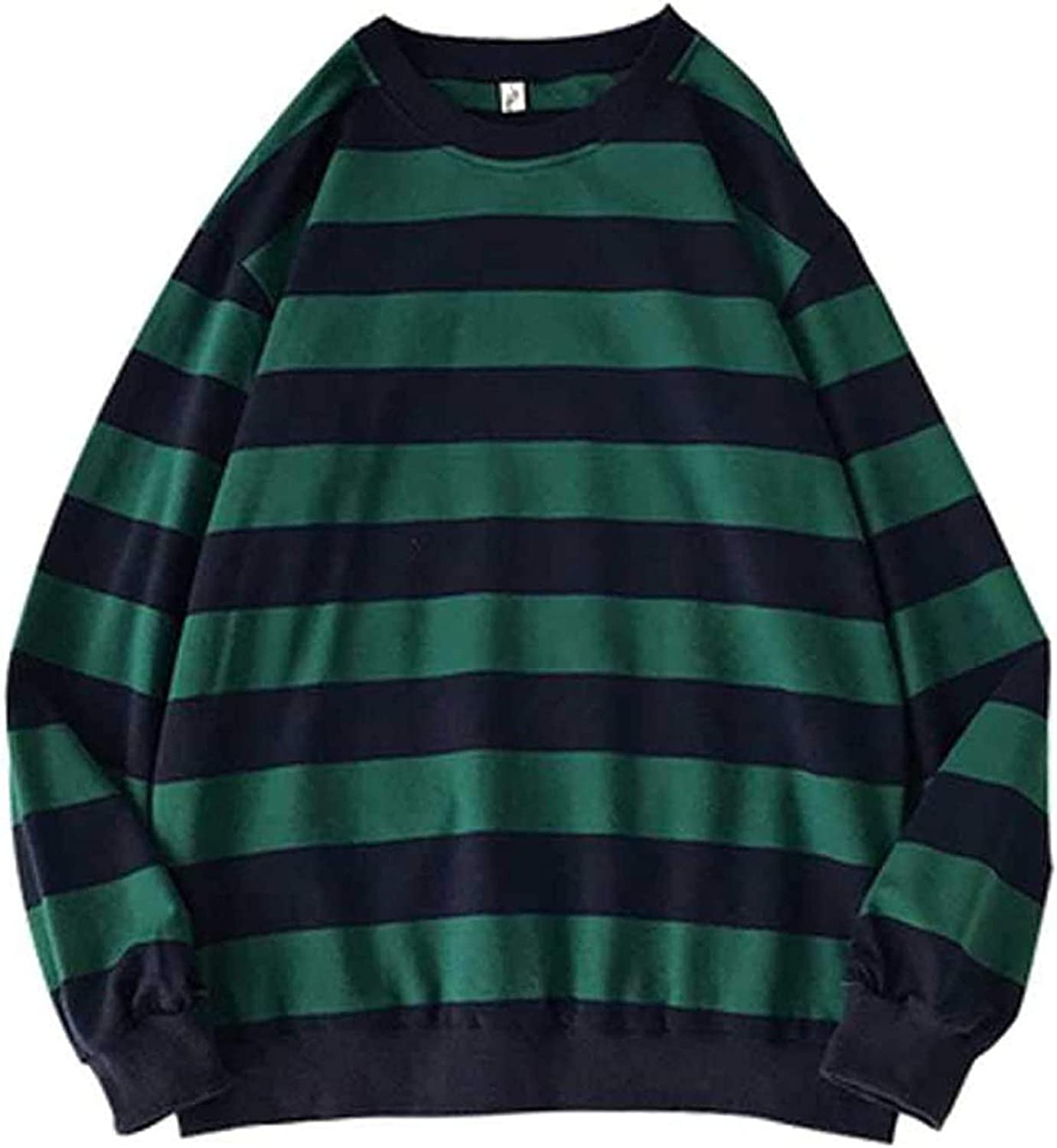 UBST Striped Sweatshirts for Mens, Fall Long Sleeve Crewneck Loose Tops Young Teen Boys Street Fashion Casual Pullover