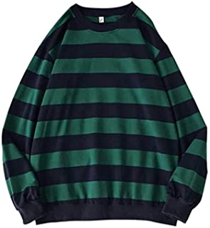 Kelei Men's Women's Striped Crew Neck Sweatshirt Pullover Men Women Teenager Fashion Sweater Jumper Top