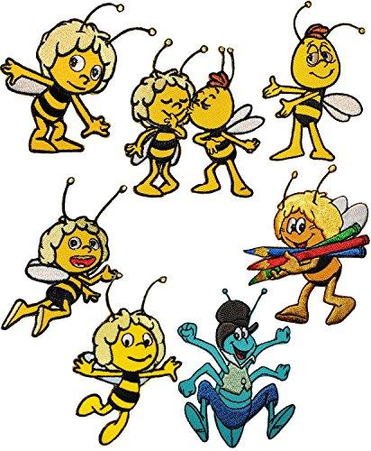 alles-meine.de GmbH 4 Stück _ Verschiedene Bügelbilder -  die kleine Biene Maja & Freunde - Motiv Mix  - 6 cm * 7,8 cm - Aufnäher & Applikation - gewebter Flicken - Bügelflicke..