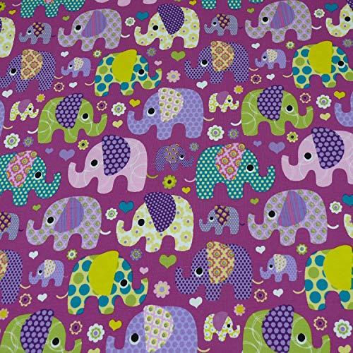 Jersey Elefanten, Kinderstoff, lila/bunt (25cm x 150cm)