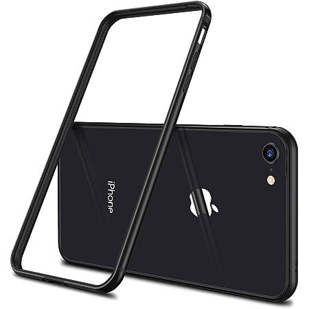 【CASEKOO】iPhone7ケース アルミバンパー 電波影響無し 衝撃吸収バンパー 二重構造(アルミフレーム/TPU)バンパー ストラップホール付き 軽量 取り出し易い おしゃれ(iPhone 7,ブラック)