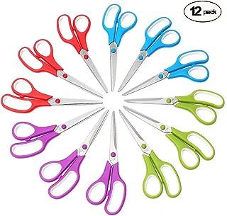CCR Scissors 8 Inch Soft Comfort-Grip Handles Sharp Blades, 12-Pack