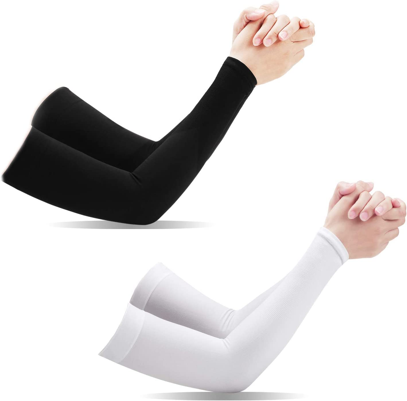 [ 2 Pairs ] UV Protection Cooling Arm Sleeves, T Tersely Arm Warmers for Men Women Youth Arm Support for Cycling Baseball Basketball Driving,Arm Compression Sleeves-Black White,One Size Fit Most
