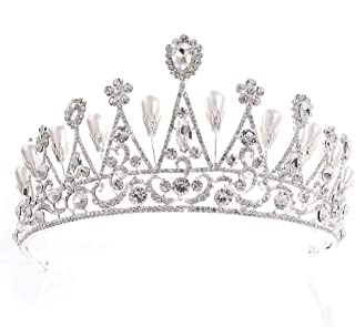 Accessori for Gioielli da Sposa con Corona, Diadema da Sposa, Diadema da Sposa E Corona da Ballo for Donna (Color : Silver)