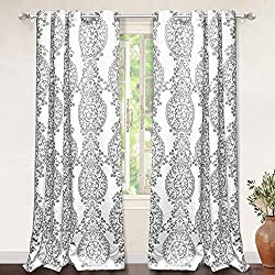 small Drift Away Samantha Thermal Room Blackout Grommet Window Curtain Unlined Floral Damask Medallion…