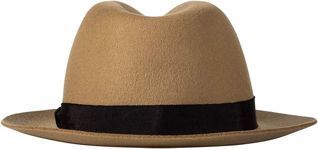 Fedora Hats for Men or Women Wool Felt Classic Style Band Wide Brim with Soft Ribbon Adjustable Camel
