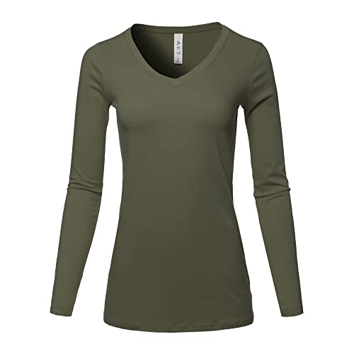 86c8b091fa2ea A2Y Women s Basic Solid Soft Cotton Long Sleeve V-Neck Top T-Shirt (