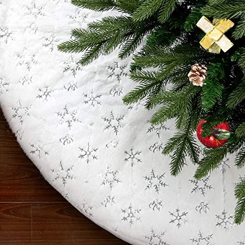 SAVITA 122cm Baumdecke Weihnachtsbaum, Weihnachtsbaumrock, Weich Schneewittchen Christbaumdecke mit Schneeflocken auf der Oberfläche Perfekt Weihnachtsbaum Dekor