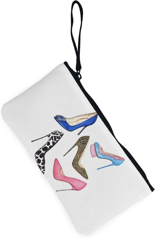 AORRUAM High heels colorful Canvas Coin Purse,Canvas Zipper Pencil Cases,Canvas Change Purse Pouch Mini Wallet Coin Bag