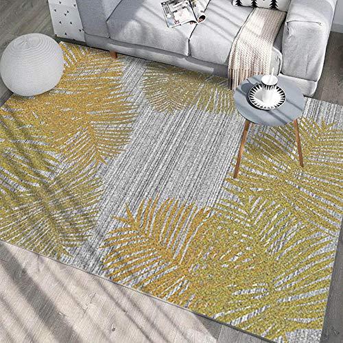 HXJHWB Alfombra Pelo Corto Diseño para - Patrón de Hoja Creativa Alfombra Interior Sala de Estar Moderna impresión 3D Degradado Gris-El 120CMx160CM