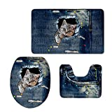 coloranimal 3piezas de espuma de memoria alfombra de baño y alfombra para juegos con tapa carcasa ((tela vaquera), diseño de gato