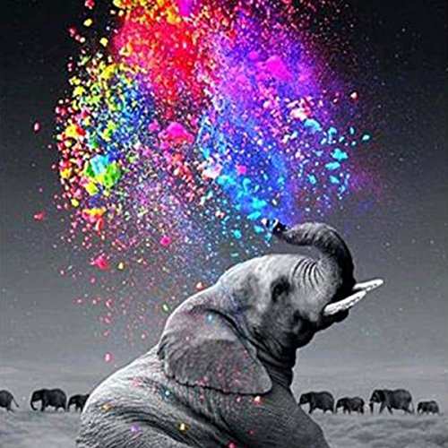 DIY 5D Diamond Painting by Number Kits, Crystal Rhinestone Diamond Embroidery Paintings Pictures Arts Craft for Home Wall Decor,Elephant