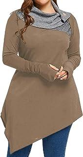 Pxmoda Women's Striped Turtleneck Thumb Hole Asymmetrical Hem Tunic Top Plus Size Blouse T Shirt
