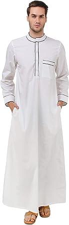 MyBatua algodón Blanco Galabiyya, Trajes de los Hombres, Estilo árabe Thobe, dishdash, Ropa Musulmana GM-036