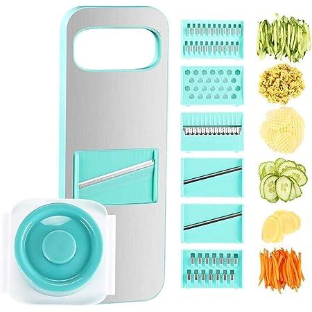 Bugucat Vegetable Chopper, Vegetable Cutter Food Slicer Dicer, 6 Interchangeable Blades Set Veggie Slicer Manual Slicer Kitchen for Garlic, Cabbage, Carrot, Potato, Tomato, Fruit, Salad