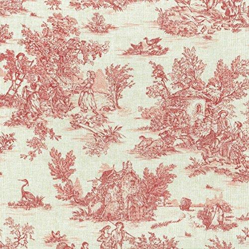 Tela Toile de jouy 'La Vie Rustique' (Rojo Antiguo Sobre un Fondo de Aspecto de Lino) - 100% Algodón Suave | Ancho: 155 cm (por Metro Lineal)*